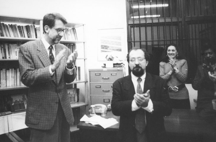 Paulo Sérgio Pinheiro e Sérgio Adorno na inauguração da primeira sede do NEV